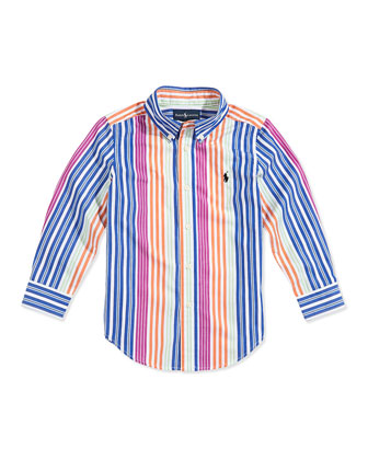 Blake Multistriped Poplin Shirt, Boys' 2T-3T