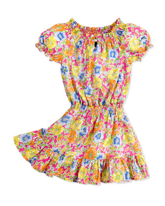 Floral-Print Dobby Dress, Girls' 4-6X