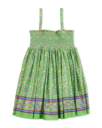 Batiste Smocked Floral-Print Dress, Green, Girls' 4-6X