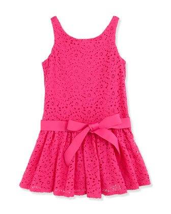 Floral Lace Sleeveless Dress, Regatta Pink, Girls' 2T-3T