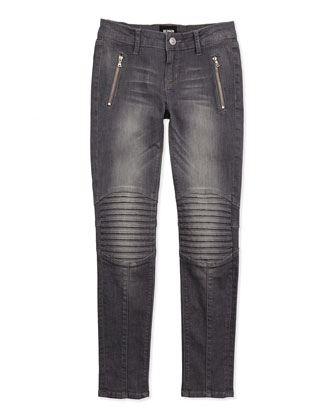 Radio Stitched-Knee Skinny Jeans, Gray, Sizes 7-16