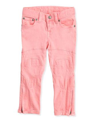 Neon Denim Biker Jeans, Pink Frosting, Girls' 2T-3T