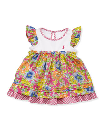 Floral Checked Combo Dress & Bloomers Set, Pink, Sizes 3-12 Months