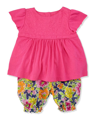 Enzyme Boho Floral Tunic & Bloomers Set, Madison Pink, Sizes 3-12 Months