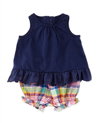 Enzyme Eyelet Trimmed Tunic & Plaid Bloomers Set, Newport Navy, Sizes 3-12 Months