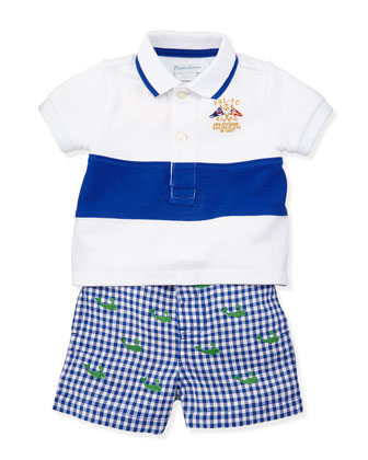 Single Striped Polo & Schiffli Shorts Set, Sizes 3-12 Months