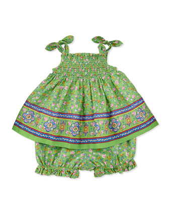 Smocked Sunset-Print Dress & Bloomers Set, Green, Sizes 3-12 Months