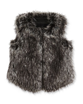 Girls' Faux-Fur Vest, Black, S-XL