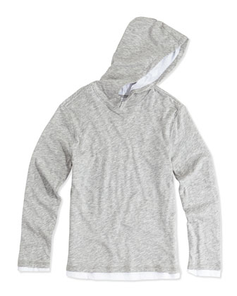 Double-Layer Hoodie, Gray, S-XL