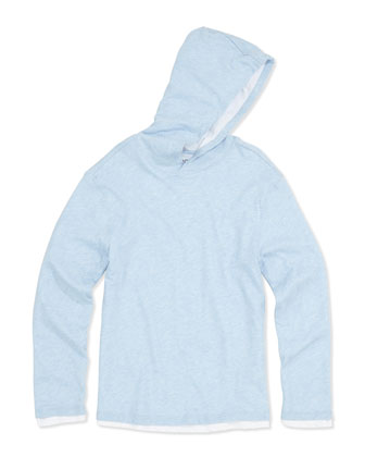 Double-Layer Hoodie, Blue, S-XL