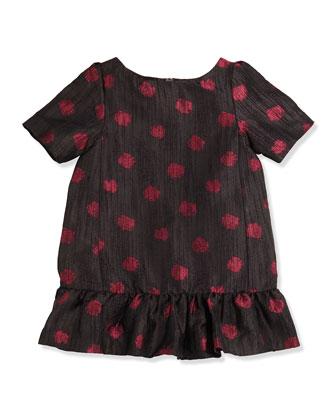 Lapastille Polka-Dot Dress, Black, Girls' 8-12