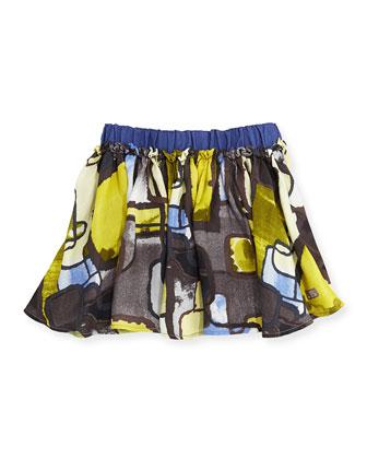 Lencre Jupe Geo-Print Skirt, Light Brown, Sizes 8-12
