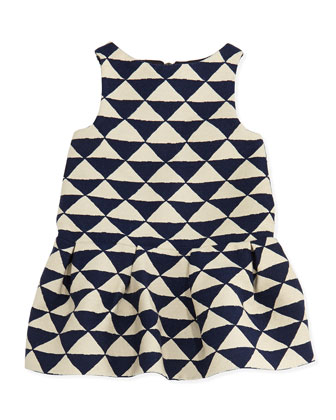 Ledomino Triangle-Print Dress, Blue, Girls' Sizes 2-6