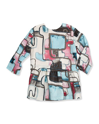 Laquarelle Geo-Print Dress, Sizes 8-12