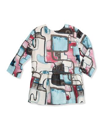 Laquarelle Geo-Print Dress, Sizes 2-6