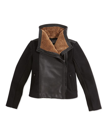 Mixed-Media Motorcycle Jacket, Black, Kids' S-XL