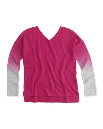 Dip Dye V-Neck Sweater, Fuchsia, Girls' Sizes S-XL
