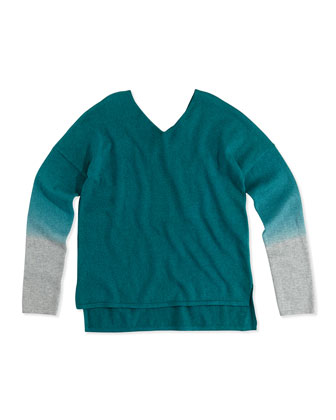 Dip-Dye V-Neck Sweater, Teal/Heather Gray, 4-6X