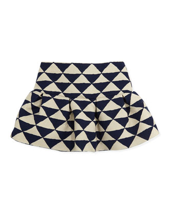 Liam Triangle-Print Skirt, Blue, Girls' 8-12