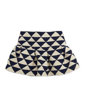 Liam Triangle-Print Skirt, Blue, Girls' 8-12