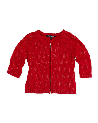 Lemiel Knit Zip-Front Cardigan, Red, Girls' 2-6
