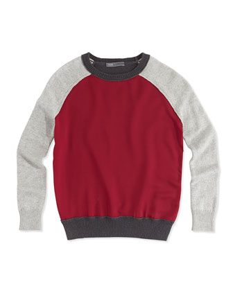 Girls' Colorblock Raglan Sweater, Heather Gray, S-XL