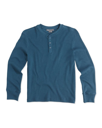 Boys' Favorite Ribbed Henley, Blue, S-XL