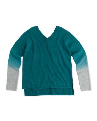 Dip-Dye V-Neck Sweater, Deep Lake Gray