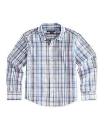 Boys' Plaid Button-Down Shirt, Blue, S-XL