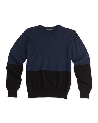 Boys' Colorblock Crewneck Sweater, Black, S-XL