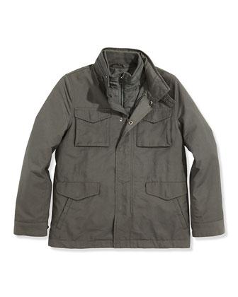 Boys' 3-in-1 Field Jacket, Dark Gray, S-XL