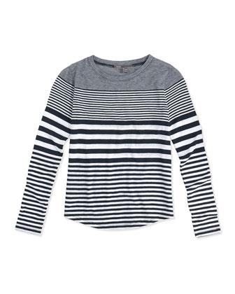 Striped Shirttail Tee, White/Black, Kids' Sizes 4-7