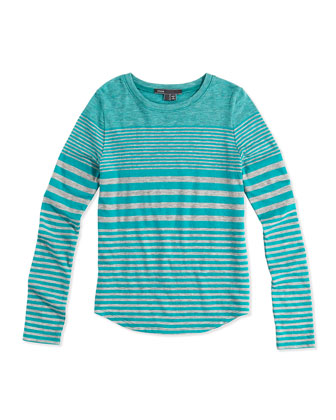 Striped Shirttail Tee, Blue/Gray, S-XL