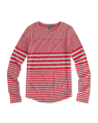 Striped Shirttail Tee, Girls' 4-6X