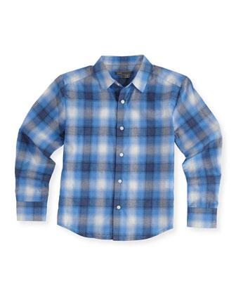 Boys' Shadow-Plaid Button-Down Shirt, Blue, 4-7
