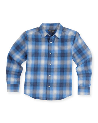 Boys' Shadow-Plaid Button-Down Shirt, Blue, S-XL