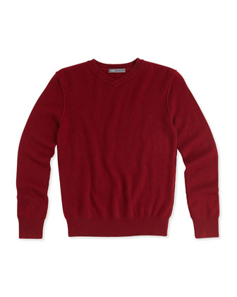 Kids' Raw-Edge V-Neck Cashmere Sweater, Garnet, S-XL