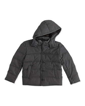 Down-Fill Puffer Jacket, Charcoal, Kids' Sizes 4-7