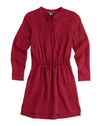 Tencel?? Drawstring Shirtdress, Pink, Girls' 4-6X