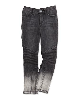 Dylan Moto Seamed Skinny Jeans, Black, Kids' 7-14