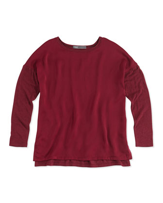 Girls' Mixed Media Long-Sleeve Tee, Burgundy, 4-6X