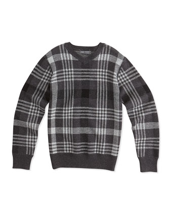 Plaid Jacquard V-Neck Sweater, Charcoal, Sizes 8-16