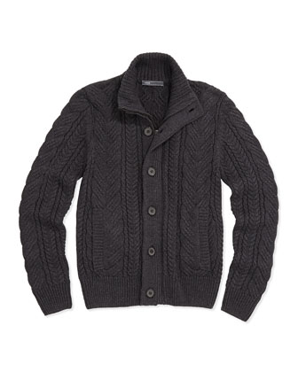Mock-Neck Cable-Knit Cardigan, Charcoal, Kids' S-XL