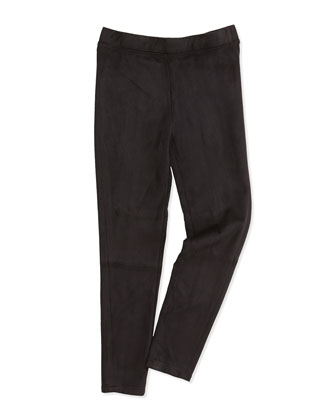 Faux-Suede Leggings, Black, Girls' S-XL