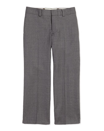 Woodsman Flat-Front Suit Pants, Light Gray, 2T-3T