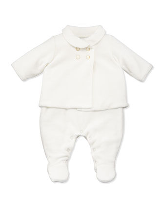 Velour Jacket & Playsuit Set, White, Sizes 3-12 Months