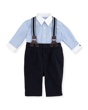 Dress Shirt, Pinstripe Pants & Suspender Set, Race Blue, 3-12 Months