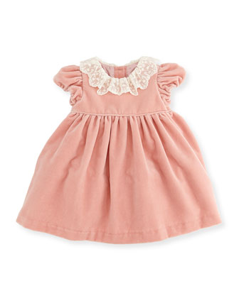 Velvet Short-Sleeve Dress, Delicate Pink, 3-12 Months