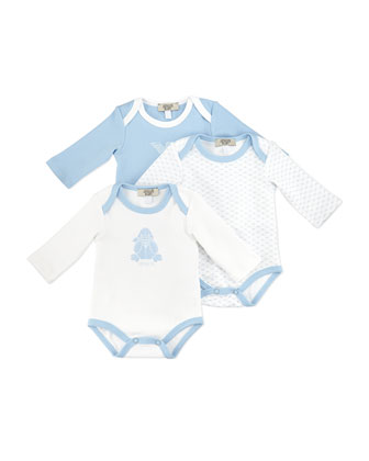 Three-Piece Logo Playsuit Set, Blue/White