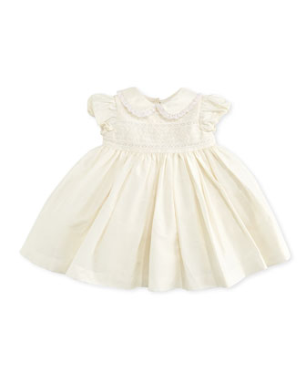 Embroidered Taffeta Dress, Cream, 3-12 Months